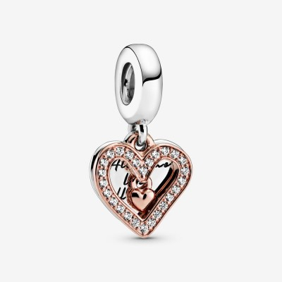 Pandora Sparkling Freehand Heart Dangle Charm
