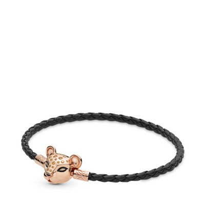 Pandora Sparkling Lion Princess, Woven Leather Bracelet, Pandora Rose™