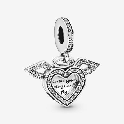 Pandora Heart and Angel Wings Dangle Charm
