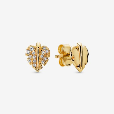 Pandora Shining & Sparkling Leaf Stud Earrings