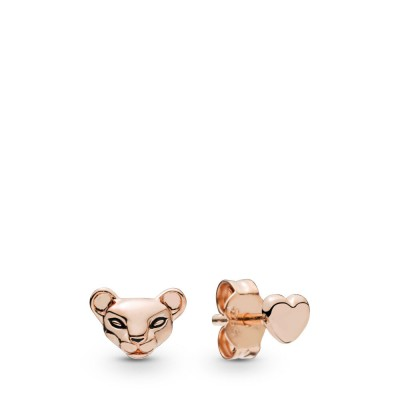 Pandora Lion Princess & Heart Stud Earrings, Pandora Rose™