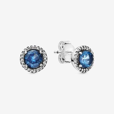 Pandora Blue Round Sparkle Stud Earrings