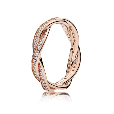 Pandora Twist of Fate Ring, PANDORA Rose™ & Clear CZ