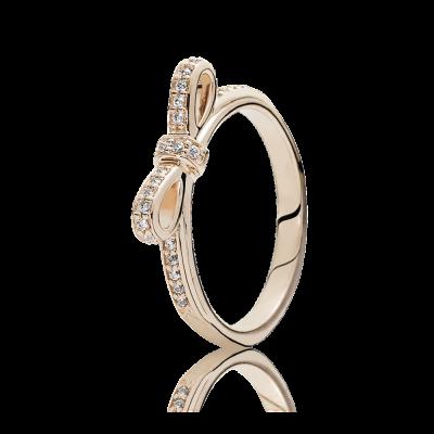 Pandora Sparkling Bow Ring, PANDORA Rose™ & Clear CZ