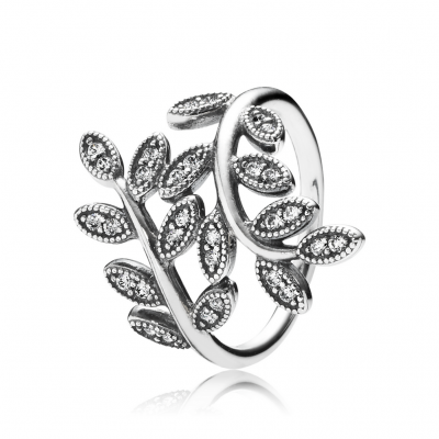 Pandora Sparkling Leaves Ring, Clear CZ