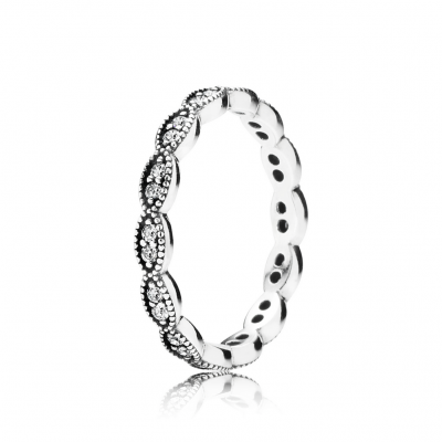 Pandora Sparkling Leaves Stackable Ring, Clear CZ