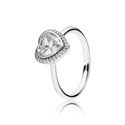 Pandora Sparkling Love Heart Ring, Clear CZ