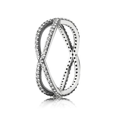 Pandora Crossing Paths Stackable Ring, Clear CZ