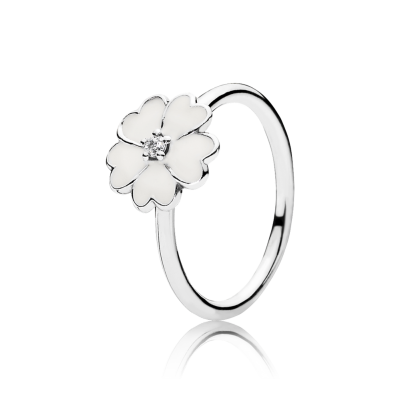 Pandora Primrose Stackable Ring, White Enamel
