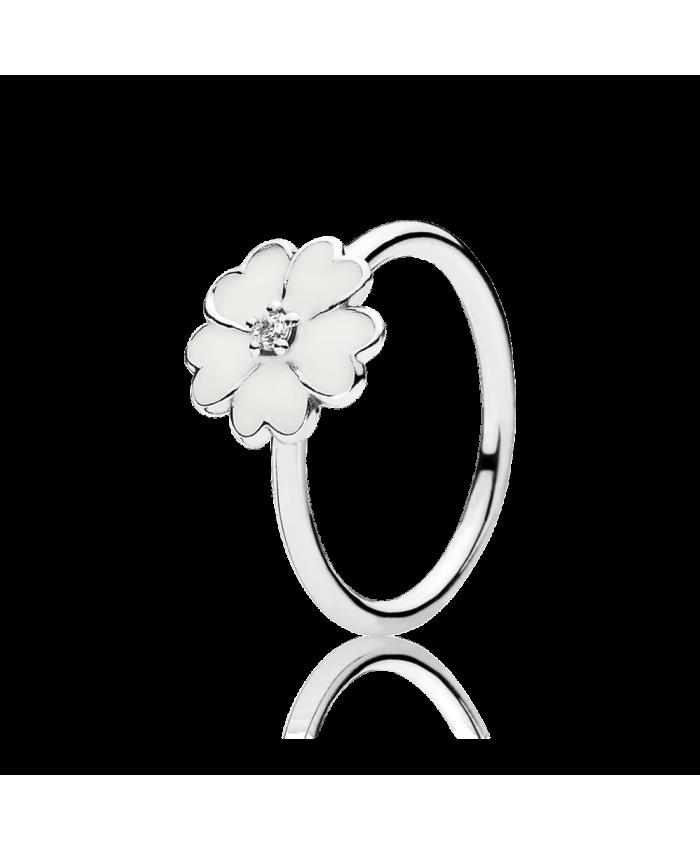 Pandora Primrose Stackable Ring, White Enamel