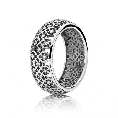 Pandora Intricate Lattice Ring, Clear CZ