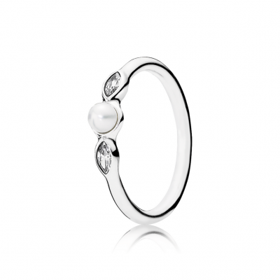 Pandora Petite Luminous Leaves, White Pearl & Clear CZ