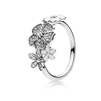 Pandora Shimmering Bouquet, White Enamel & Clear CZ