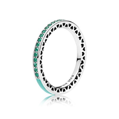 Pandora Radiant Hearts of PANDORA, Bright Mint Enamel & Royal Green Crystals