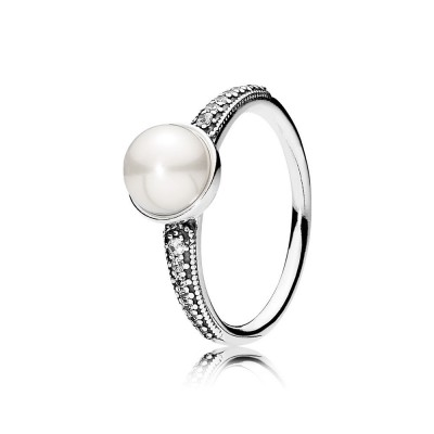 Pandora Elegant Beauty, White Pearl & Clear CZ