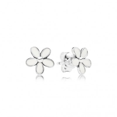 Pandora Darling Daisies Stud Earrings, White Enamel