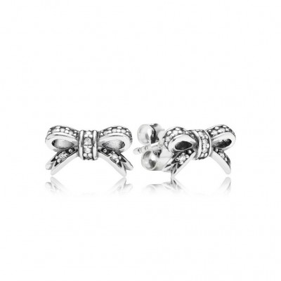 Pandora Sparkling Bow Stud Earrings, Clear CZ