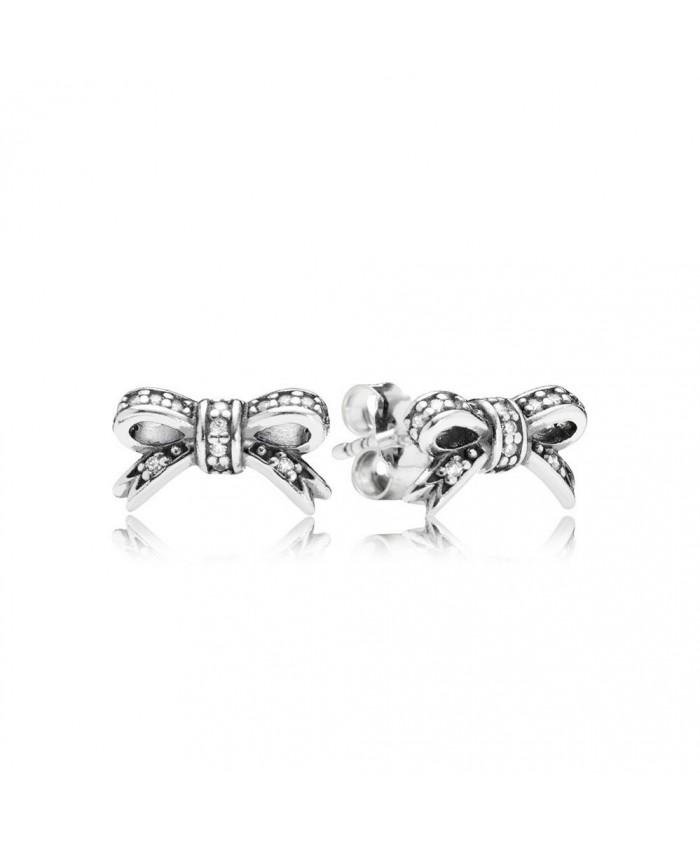 Pandora Sparkling Bow Stud Earrings, Clear CZ
