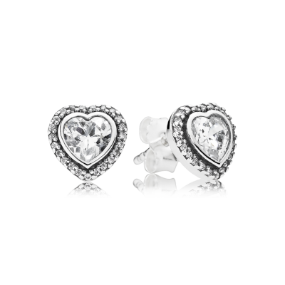 Pandora Sparkling Love Stud Earrings, Clear CZ