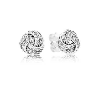 Pandora Sparkling Love Knots Stud Earrings, Clear CZ