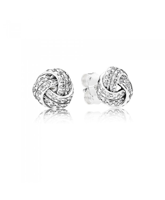 Pandora Sparkling Love Knots Stud Earrings, Clear CZ
