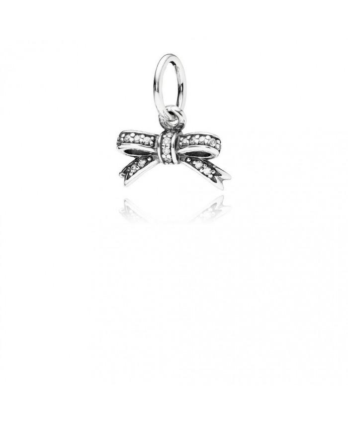 Pandora Sparkling Bow Pendant, Clear CZ