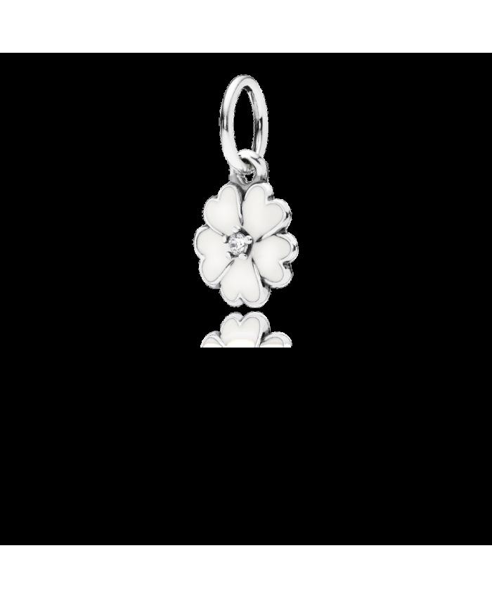 Pandora Primrose Pendant, White Enamel & Clear CZ