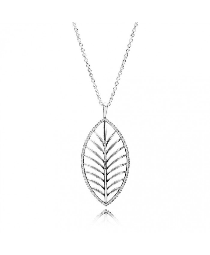Pandora Tropical Palm Pendant Necklace, Clear CZ