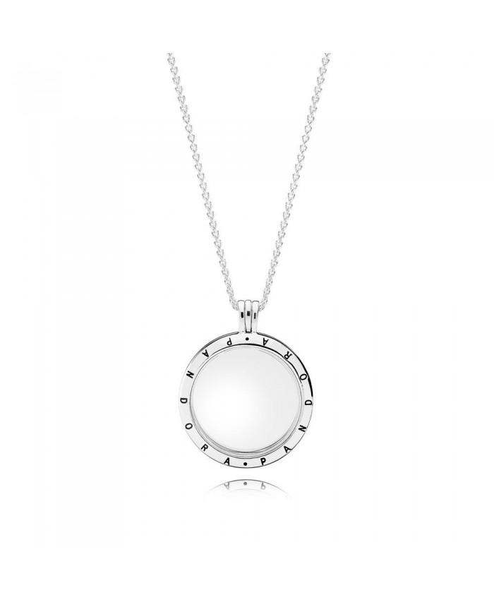 PANDORA Floating Locket, Large, Sapphire Crystal Glass