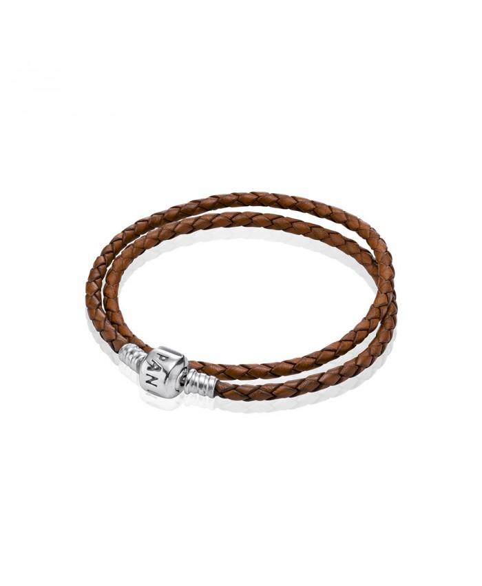 Pandora Brown Braided Double-Leather Charm Bracelet