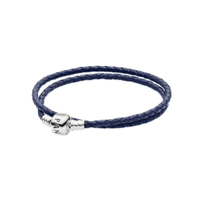 Pandora Dark Blue Braided Double-Leather Charm Bracelet
