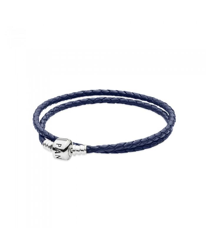 Pandora Dark Blue Braided Double-Leather Charm Bracelet