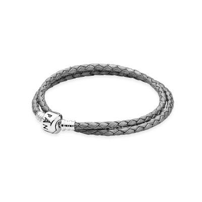 Pandora Silver-Grey Braided Double-Leather Charm Bracelet