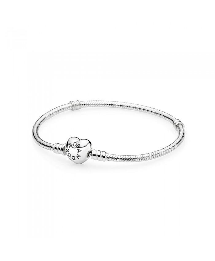 Pandora Silver Charm Bracelet with Heart Clasp