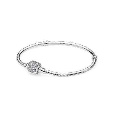 Pandora Sterling Silver w/ Signature Clasp, Clear CZ