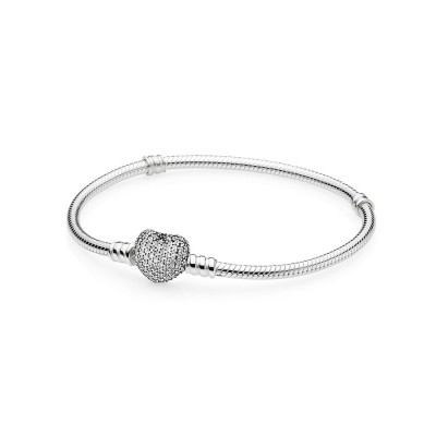Pandora Pavé Heart Bracelet, Clear CZ