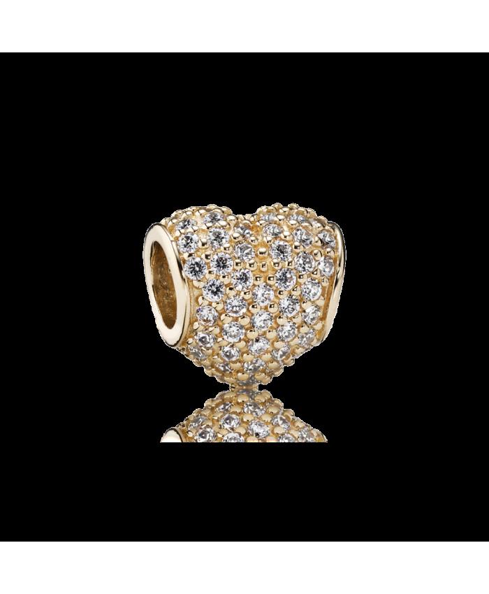 Pandora Pavé Heart, Clear CZ & 14K Gold