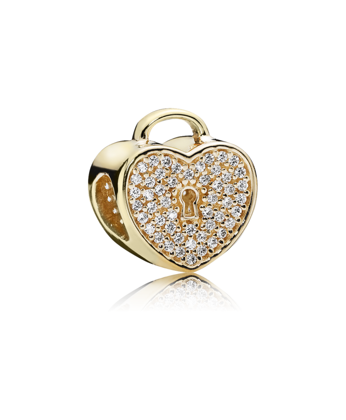 Pandora Heart Lock, Clear CZ & 14K Gold