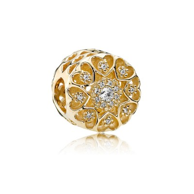 Pandora Hearts of Gold, Clear CZ & 14K Gold