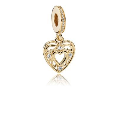 Pandora Romantic Heart, 14K Gold & Clear CZ