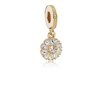 Pandora Embellished Floral, 14K Gold & Clear CZ