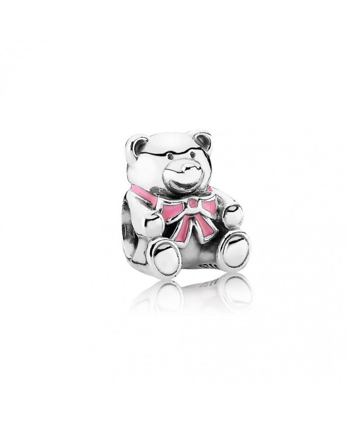 "Pandora ""It's A Girl"" Teddy Bear, Pink Enamel"