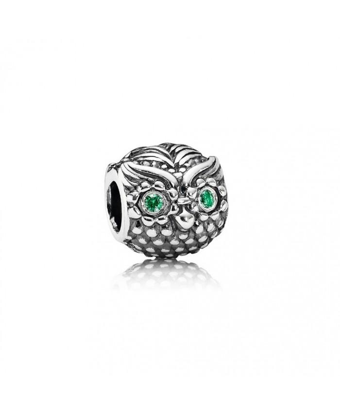 Pandora Wise Owl, Dark Green CZ