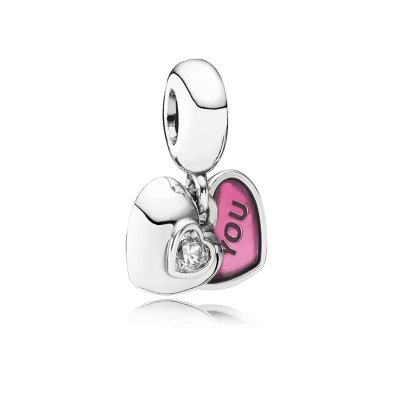 Pandora You & Me, Two-Part, Clear CZ & Fuchsia Enamel