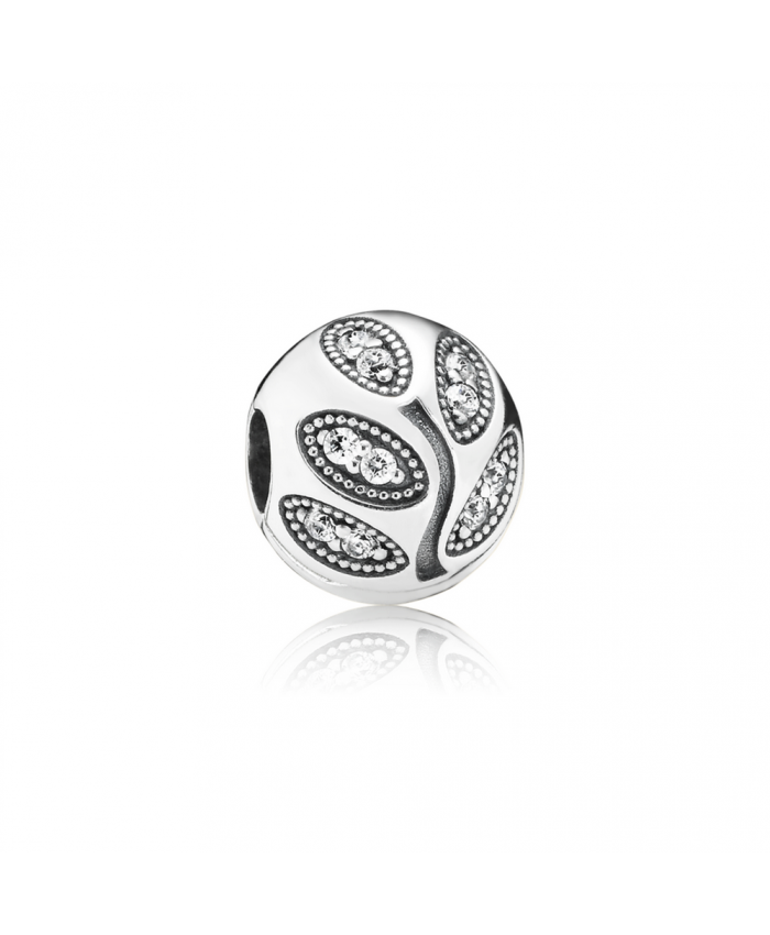 Pandora Sparkling Leaves Clip, Clear CZ