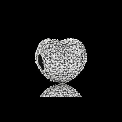 Pandora Pavé Open My Heart Clip, Clear CZ