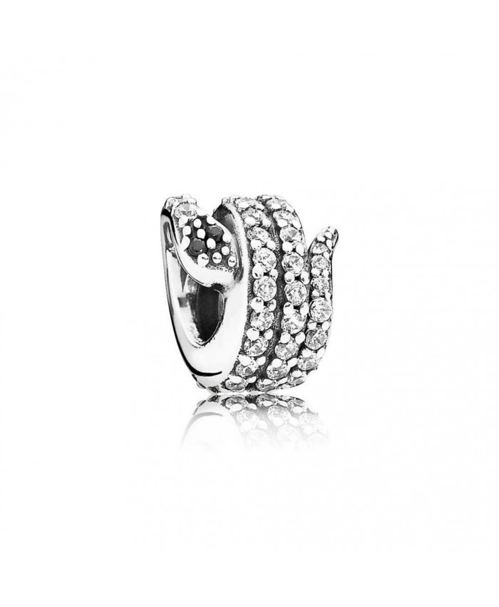 Pandora Sparkling Snake, Clear CZ & Black Crystal