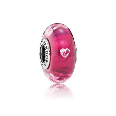 Pandora Cerise Heart Glass, Clear CZ