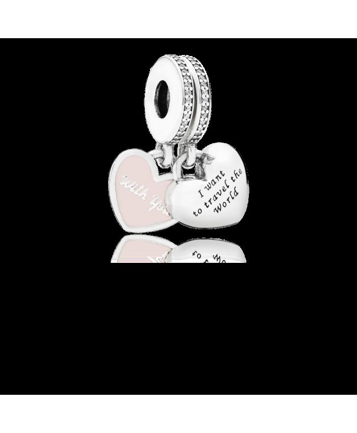 Pandora Travel Together Forever, Pink Enamel & Clear CZ