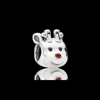 Pandora Red-Nosed Reindeer, Red Enamel
